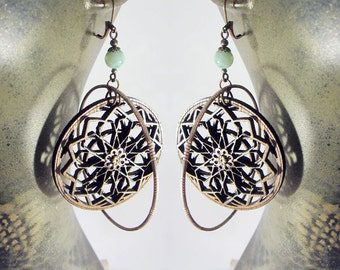 layered mandala Earrings, hoop earrings, wearable art, wood jewelry, nature design, Laser Cut Jewelry, sacred geometry jewelry, wood design