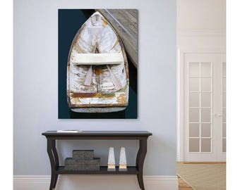 Acrylic Print, Glass Wall Art, Wooden Boat Photography, Nautical Decor, Rowboat Oars Photo, Large Art, Coastal Beach Decor, Navy Blue Beige