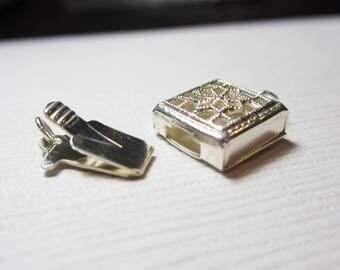 Square Filigree Design 1-Strand Sterling Silver Box Clasp - 8mm - Flat Square Box Clasp Single Strand