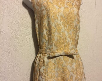 Vintage 1960s Gold Brocade Maxi Dress