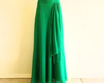 Green Maxi Skirt. Green Floor Length Skirt. Chiffon Bridesmaid Skirt. Long Evening Skirt.