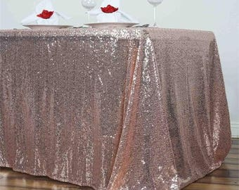 """Sequin Tablecloth Gold Champagne Turquoise Green Silver Fuchsia Pink Sparkly Reception Wedding Table Custom 90 x 156"""" Sequin Tablecloth"""