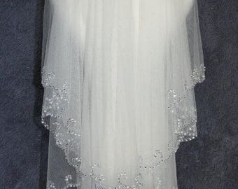 White Elbow Beaded Edge Pearl Sequins Wedding Bridal Veil With Comb
