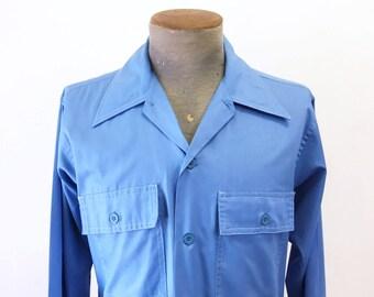 1960s Vintage Men's Sky Blue Mad Men Era Mod Long Sleeve Shirt The Grand Baroque by Arrow - Size MEDIUM