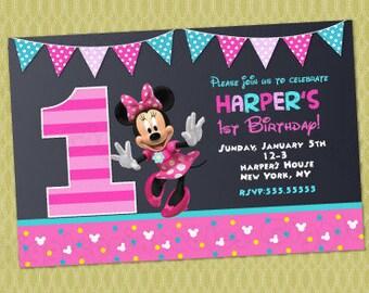 Minnie Mouse 1st Birthday Invitations, Minnie Invitations, Minnie Mouse First Birthday Invitations , Minnie Mouse Invitations