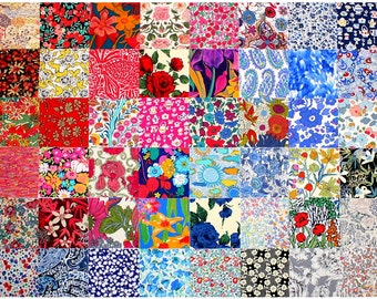 "Liberty Fabric 48 Mini Charm Squares 2.5"" Bundle Patchwork Quilting Floral Medium Bright + black grey Colours Liberty of London Tana Lawn"