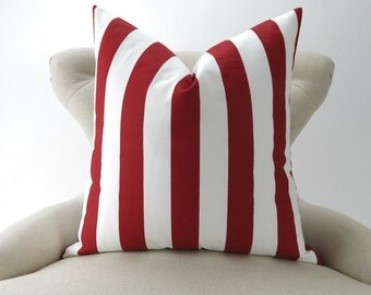 Red Stripe Pillow Cover -MANY SIZES- Canopy Lipstick white custom sham geometric euro decorative 18x18 24x24 28x28 Premier Prints