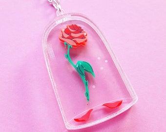 Enchanted Rose necklace - laser cut acrylic