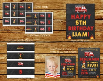 Fire Truck Birthday Party Package    Firefighter Chalkboard Party Package   Fireman Party   Fireman Invite   Fire Truck Birthday Party