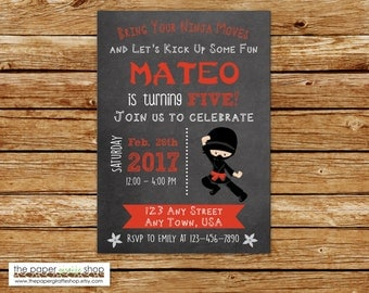 Ninja Invitation | Ninja Birthday Invitation | Boy Ninja Party | Birthday Invitation for Boy | Black & Red Ninja Invite
