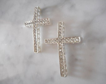 2pc Rhinestone Sideways Cross Connector, Destash Supplies, Bracelet connector, Jewelry connector, Cross Bead, Cross Charms, Rhinestone Charm