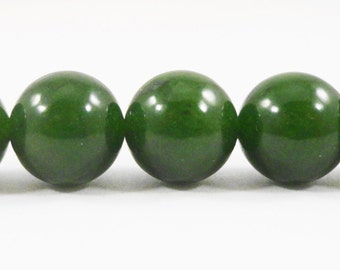 """Forest Green Jade Beads 10mm Round Jade Gemstone Beads, Candy Jade Beads, Dyed Mountain Jade Stone Beads on a 7 1/4"""" Strand with 19 Beads"""