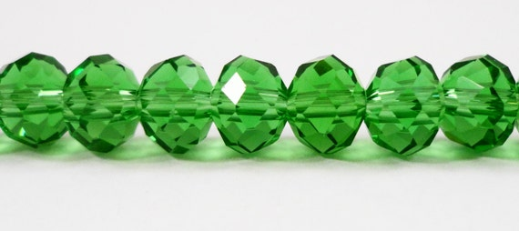 """Green Crystal Rondelle Beads 7x5mm (5x7mm) Green Crystal Beads, Faceted Chinese Crystal Glass Beads on a 7 1/2"""" Strand with 35 Beads"""