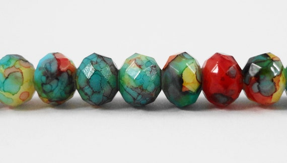 """Rondelle Crystal Beads 6x4mm Multicolor Tie Dye Beads, Opaque Rainbow Beads, Chinese Crystal Glass Beads on a 9 1/2"""" Strand with 50 Beads"""