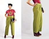 VTG- 80s/90s, Vintage, Silk, High-Waist, Pleated Trousers, Moss Green, Loose Fit, Petite Short Length, Wide Leg - Size S Small