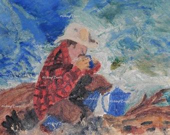 Cowboy, Enjoying His First Cup, Digital copy of my painting, western decor, cowboy decor, cowpoke, western cowboy  fine art digital painting