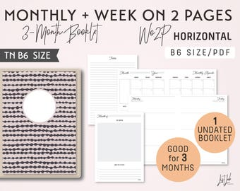 B6 Monthly-Week on 2 Pages Horizontal Printable Booklet Insert - Good for 3 Months