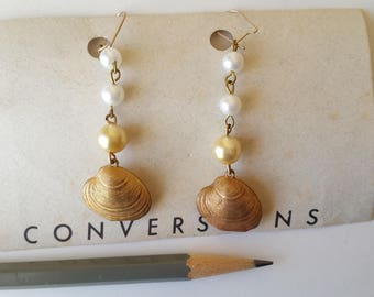 Vintage brass clam shell & faux pearl earrings gold filled ear wires
