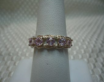 Round Cut Lavender Ceylon Sapphire Five Stone Ring in Sterling Silver   #1950