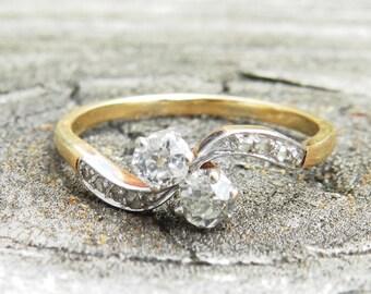 Engagement Ring Art Nouveau Engagement Ring 18K Belle Epoch Diamond Toi Et Moi Engagement Ring Antique Old European Cut OEC Ring