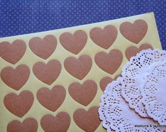 Board of 20 stickers kraft - hearts (deco wedding, baptism)