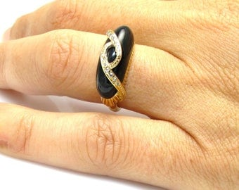 14K Yellow Gold Diamond and Onyx Ring - Size 6 - Wide Onyx Ring - Weight 5 Grams - Black Onyx Diamond Ring # 4092