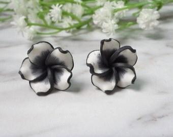 Black Frangipani Flower Soft Ceramic Clay Stud Earrings 0212