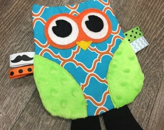Owl Crinkle Toy in Blue and Orange
