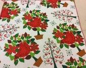 "Set of 6.Cloth Christmas Napkins. Size is 14""x15"". 100% cotton.Red,green,white napkins.New Year napkins"