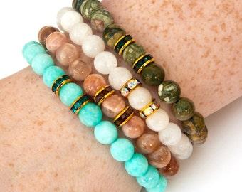 elemental bracelet set, elemental bracelets, earth bracelet, air bracelet, fire bracelet, water bracelet, sunstone, moonstone, rhyolite