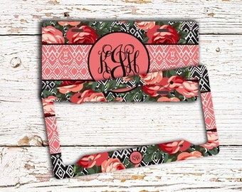 Ikat car accessories, Floral license plate or frame, Tribal bicycle license plate, Aztec car tag, Cute pink mauve roses black Ikat (1587)