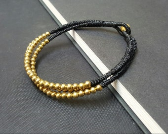 Black  Triple Stand  Brass  Anklet