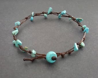 Chip Turquoise Hippie  Anklet