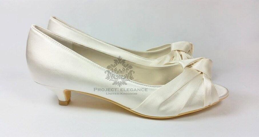 Ivory satin vintage knot peep Toe Low Heel 1 Inch Kitten Heel Very ...