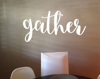 gather, Gather sign, wall decor, Kitchen Blessing, Bistro Cafe Vinyl Wall Art, wall decal, wall sticker, kitchen wall art,  HH2163