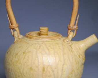 Clay Teapot Cream with Cane Handle F65