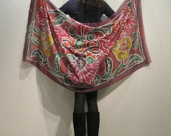 Hand painted natural silk scarf,with an ancient Russian ornament, batik art, 180 x 90 cm