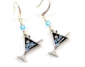 Crystal Blue Martini Earrings Silver Tone Hook Pierced