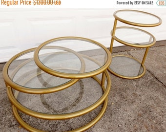 ON SALE Mid-Century Modern, Round Tube Frame Expandable Coffee Table and End Table