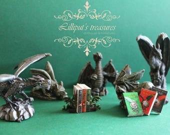 Dollhouse miniature dragon set - bookends and 3 books -