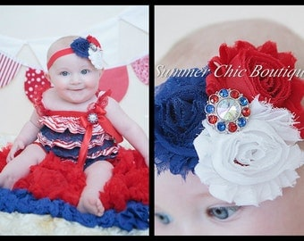 Romper and Headband Set, Fourth of July Romper, Fourth of July Baby Romper and Headband, Red White, and Blue Outfit, Baby Outfit
