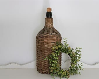 Antique French Demijohn . Wicker . Wine Bottle . Glass Jug . Fixer Upper Decor . French Country . Farmhouse . Cottage Decor . Rustic Country