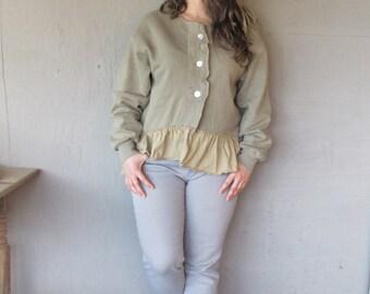 upcycled clothing Romantic prairie jacket ruffled sweatshirt tunic L X Large Boho clothing French Shabby chic top by LillieNoraDryGoods