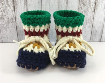 Hudson Bay with Chunky Colours BABY Toddler Child Crochet SHEEPSKIN Booties and Slippers with Brown Leather Suede Sheepskin Shearling Sole