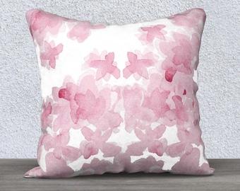 Pink Nursery Pillow, Watercolor Pillow Case, Pink Pillow Case, Pink Throw Pillow, Pink Floral Pillow, Pink Lumbar Pillow, 14x20, 18x18