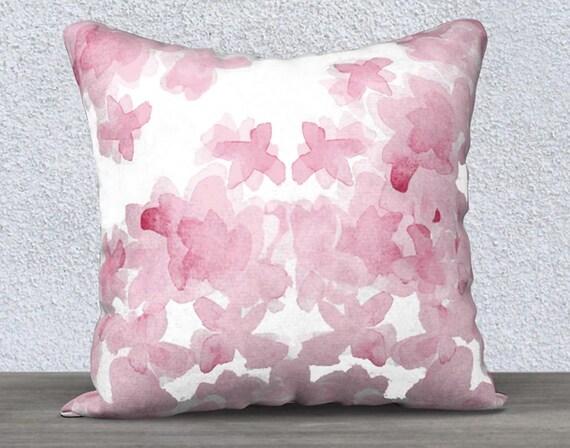 "Pink Watercolor Flower Pillow Case, 14""x20"", 18""x18"""
