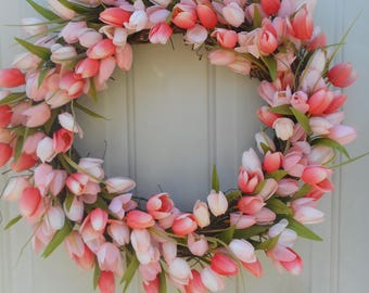 Tulip wreath Spring tulip wreath Spring tulip decor Spring peach tulip wreath Mother's day wreath Tulip door decor Tulip Grapevine RTS