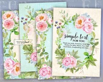 Invitation Cards - digital collage sheet - set of 4 cards - Printable Download