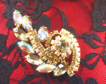 Dazzling Vintage AB Rhinestone Brooch Unsigned Beauty
