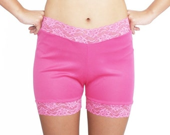 30% OFF Hot Pink Lace Biker Shorts No Chafe Modesty Bloomers